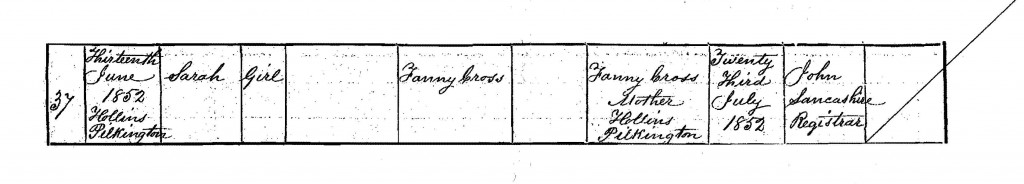 Birth Certificate for Sarah Cross born 13 June 1852 at Hollins, Pilkington, Lancashire – Source: General Register Office